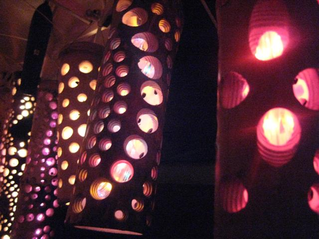 Bamboo Groove lamps close up